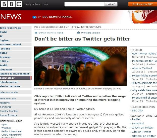 Twitter Article on the Beeb!
